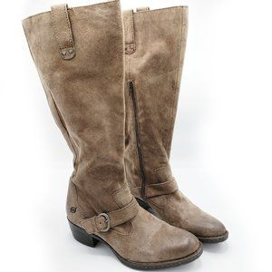 Born Wide Calf Boot Taupe Suede Distressed Heeled